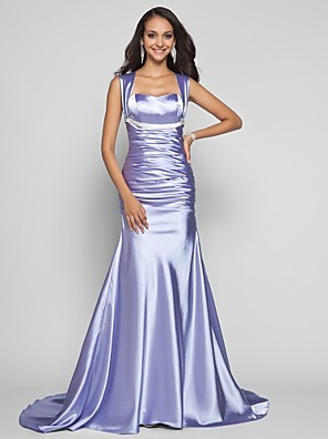 cheap Cocktail Dresses-Mermaid / Trumpet Open Back Formal Evening Military Ball Dress Straps Sleeveless Sweep / Brush Train Stretch Satin with Sash / Ribbon Ruched 2020