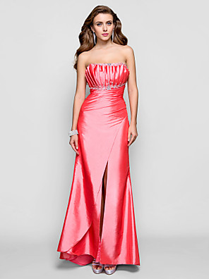cheap Special Occasion Dresses-Sheath / Column Open Back Prom Formal Evening Dress Scalloped Neckline Sleeveless Floor Length Taffeta with Beading Draping Split Front 2020