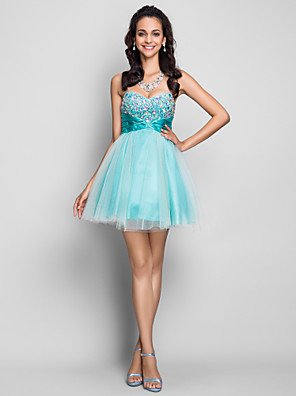 cheap Cocktail Dresses-Back To School Ball Gown Homecoming Cocktail Party Prom Dress Strapless Sweetheart Neckline Sleeveless Short / Mini Tulle with Criss Cross Ruched Crystals 2020 Hoco Dress