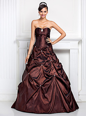 cheap Cocktail Dresses-Ball Gown Open Back Quinceanera Prom Formal Evening Dress Strapless Sweetheart Neckline Sleeveless Floor Length Taffeta with Pick Up Skirt Crystals Crystal Brooch 2020