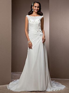 cheap Wedding Dresses-Sheath / Column Wedding Dresses Bateau Neck Court Train Chiffon Cap Sleeve with Beading Appliques Button 2020