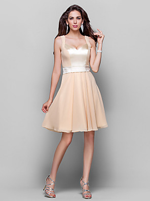 cheap Cocktail Dresses-A-Line Chic & Modern Cute Homecoming Cocktail Party Wedding Party Dress V Neck Sleeveless Knee Length Chiffon with Sash / Ribbon 2020