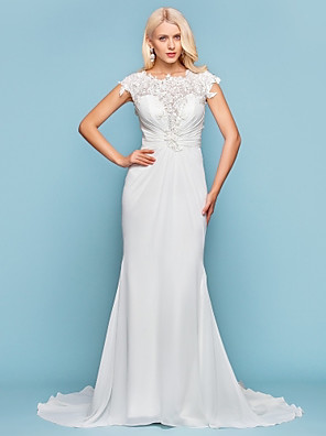 cheap Wedding Dresses-Mermaid / Trumpet Wedding Dresses Jewel Neck Court Train Chiffon Short Sleeve Open Back with Beading Appliques Side-Draped 2020