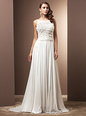 cheap Wedding Dresses-A-Line Wedding Dresses Scoop Neck Sweep / Brush Train Chiffon Spaghetti Strap Formal with Ruched Flower 2020