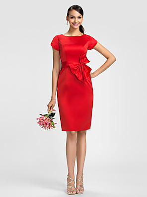 cheap Bridesmaid Dresses-Sheath / Column Jewel Neck Knee Length Satin Bridesmaid Dress with Bow(s) / Sash / Ribbon / Petal Sleeve