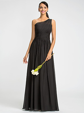cheap Bridesmaid Dresses-Sheath / Column One Shoulder Floor Length Chiffon Bridesmaid Dress with Beading / Sash / Ribbon / Side Draping