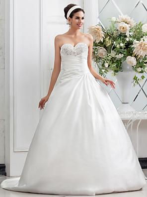 cheap Wedding Dresses-Princess A-Line Wedding Dresses Sweetheart Neckline Chapel Train Satin Sleeveless with 2020