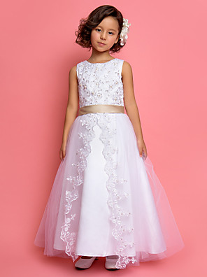 cheap Flower Girl Dresses-Princess / A-Line Ankle Length Wedding / First Communion Flower Girl Dresses - Satin / Tulle Sleeveless Jewel Neck with Lace / Pearls / Sequin