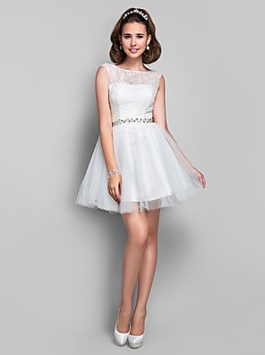 cheap Special Occasion Dresses-Ball Gown Cocktail Party Dress Illusion Neck Sleeveless Short / Mini Lace Tulle with Lace Crystals 2020