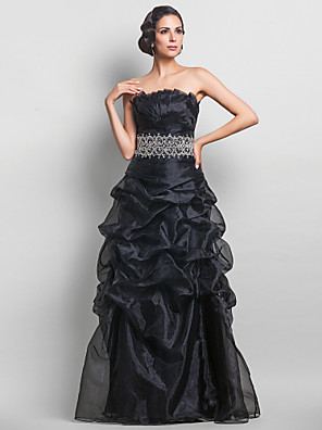 cheap Evening Dresses-A-Line Vintage Inspired Prom Formal Evening Military Ball Dress Strapless Sleeveless Floor Length Organza with Pick Up Skirt Criss Cross Crystals 2020