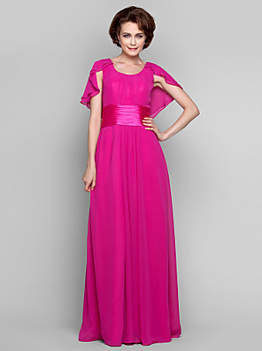 cheap Mother of the Bride Dresses-Sheath / Column Mother of the Bride Dress Scoop Neck Floor Length Chiffon Sleeveless with Sash / Ribbon Ruched Beading 2020