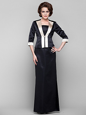 cheap Bridesmaid Dresses-Sheath / Column Two Piece Dress Spaghetti Strap Half Sleeve Floor Length Satin with Split Front Crystal Brooch 2020