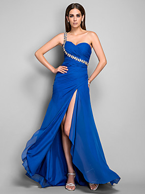 cheap Special Occasion Dresses-Sheath / Column Open Back Formal Evening Dress One Shoulder Sleeveless Asymmetrical Chiffon with Crystals Side Draping Split Front 2020