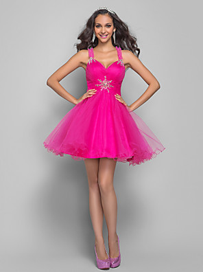 cheap Cocktail Dresses-Back To School A-Line Open Back Cute Cocktail Party Dress Straps Sleeveless Short / Mini Tulle with Ruched Crystals Ruffles 2020 Hoco Dress