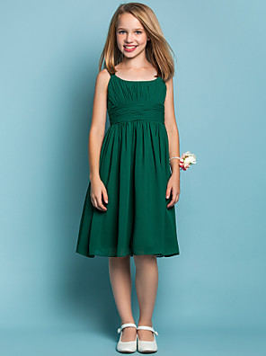 cheap Boys' Clothing Sets-Sheath / Column Straps Knee Length Chiffon Junior Bridesmaid Dress with Ruched / Draping / Spring / Summer / Fall / Apple / Hourglass