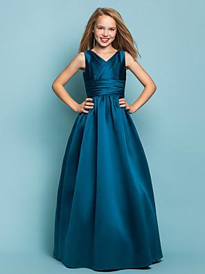 cheap Junior Bridesmaid Dresses-Princess / A-Line V Neck Floor Length Satin Junior Bridesmaid Dress with Sash / Ribbon / Criss Cross / Spring / Summer / Fall / Apple / Hourglass