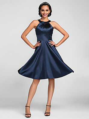 cheap Evening Dresses-A-Line Jewel Neck Knee Length Stretch Satin Bridesmaid Dress with Side Draping
