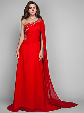 cheap Evening Dresses-Sheath / Column Open Back Holiday Cocktail Party Formal Evening Dress One Shoulder Sleeveless Sweep / Brush Train Chiffon with Crystals 2020