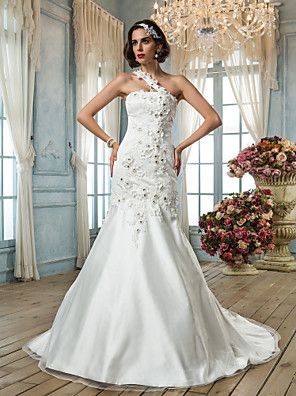 cheap Wedding Dresses-Mermaid / Trumpet Wedding Dresses One Shoulder Court Train Tulle Sleeveless with Beading Appliques Flower 2020