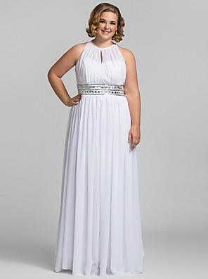 cheap Cocktail Dresses-Sheath / Column Elegant Celebrity Style Minimalist Prom Formal Evening Dress Halter Neck Sleeveless Floor Length Chiffon with Pleats Sequin 2020 / Keyhole