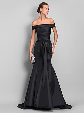 cheap Evening Dresses-Mermaid / Trumpet Elegant Black Engagement Formal Evening Dress Off Shoulder Sleeveless Court Train Taffeta with Sash / Ribbon Ruched Crystals 2020