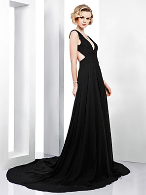 cheap Evening Dresses-A-Line Beautiful Back Formal Evening Dress Plunging Neck Sleeveless Court Train Chiffon with Side Draping 2020