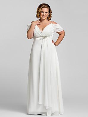 cheap Prom Dresses-Sheath / Column Open Back Prom Formal Evening Dress Spaghetti Strap Short Sleeve Floor Length Chiffon with Crystals 2020