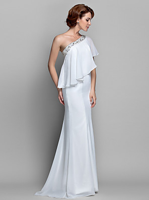 cheap Wedding Dresses-A-Line Mother of the Bride Dress Sparkle & Shine One Shoulder Floor Length Chiffon Sleeveless with Beading Ruffles 2020