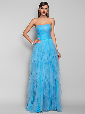 cheap Special Occasion Dresses-Ball Gown Prom Formal Evening Military Ball Dress Sweetheart Neckline Sleeveless Floor Length Tulle with Criss Cross Ruched Side Draping 2020