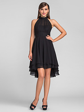 cheap Free Shipping-A-Line Little Black Dress Black Homecoming Cocktail Party Dress Halter Neck Sleeveless Knee Length Chiffon with Pleats 2020