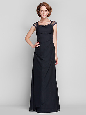 cheap Bridesmaid Dresses-Sheath / Column Mother of the Bride Dress Open Back Queen Anne Floor Length Chiffon Lace Sleeveless with Lace Side Draping 2020