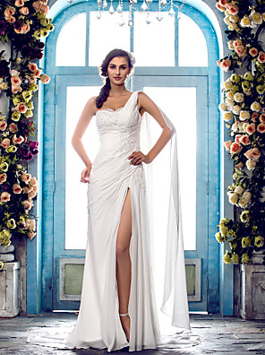 cheap Evening Dresses-Sheath / Column Wedding Dresses One Shoulder Sweep / Brush Train Chiffon Regular Straps Country Simple Vintage Illusion Detail with Beading Lace Insert 2020