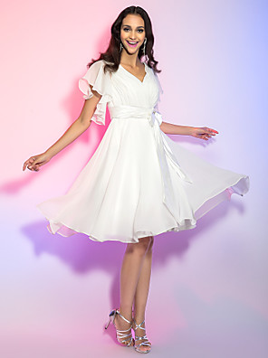 cheap Cocktail Dresses-A-Line Hot White Holiday Cocktail Party Dress V Neck Sleeveless Knee Length Chiffon with Bow(s) 2020