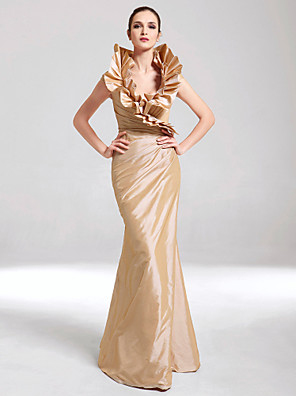 cheap Prom Dresses-Mermaid / Trumpet Elegant Gold Party Wear Formal Evening Dress V Neck Sleeveless Floor Length Taffeta with Ruffles 2020