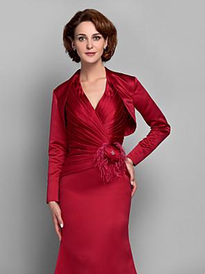 cheap Wedding Wraps-Long Sleeve Shrugs Satin Wedding / Party Evening Women's Wrap With Draping