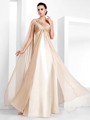 cheap Evening Dresses-Sheath / Column Elegant Formal Evening Black Tie Gala Dress One Shoulder Sleeveless Floor Length Chiffon with Criss Cross Crystals 2020