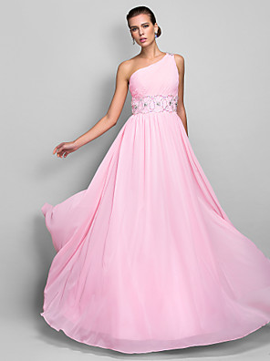 cheap Evening Dresses-Sheath / Column Elegant Open Back Pastel Colors Prom Wedding Party Dress One Shoulder Sleeveless Floor Length Chiffon with Ruched Beading 2020