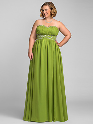 cheap Plus Size Dresses-A-Line Open Back Prom Formal Evening Military Ball Dress Strapless Sweetheart Neckline Sleeveless Floor Length Chiffon with Crystals Draping 2020