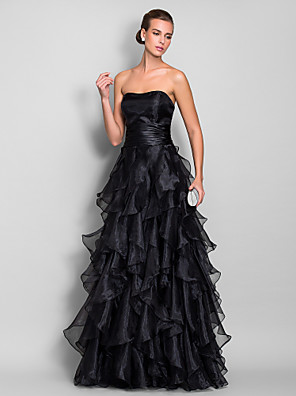 cheap Evening Dresses-A-Line Elegant Black Prom Formal Evening Dress Strapless Sleeveless Floor Length Organza with Ruffles Tier 2020