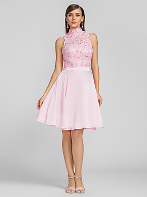 cheap Cocktail Dresses-A-Line Hot Pink Homecoming Cocktail Party Dress High Neck Sleeveless Knee Length Chiffon Lace with Sequin Appliques 2020
