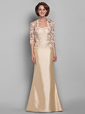 cheap Mother of the Bride Dresses-Mermaid / Trumpet Mother of the Bride Dress Wrap Included Sweetheart Neckline Floor Length Lace Taffeta Half Sleeve with Lace 2020