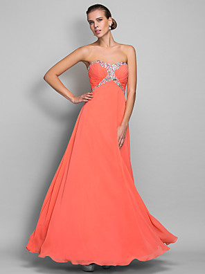 cheap Special Occasion Dresses-A-Line Open Back Prom Formal Evening Military Ball Dress Sweetheart Neckline Sleeveless Floor Length Chiffon with Crystals Side Draping 2020