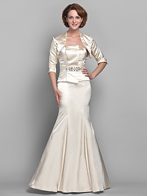 cheap Mother of the Bride Dresses-Mermaid / Trumpet Mother of the Bride Dress Two Piece Strapless Floor Length Stretch Satin 3/4 Length Sleeve with Crystals 2020