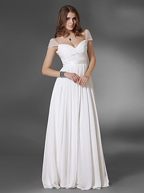 cheap Cocktail Dresses-A-Line Elegant Minimalist Prom Formal Evening Dress V Neck Short Sleeve Floor Length Chiffon with Sash / Ribbon Ruched 2020