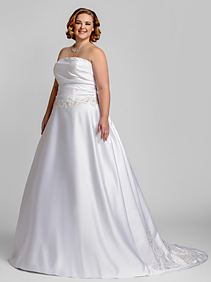 cheap Wedding Dresses-A-Line Wedding Dresses Strapless Court Train Satin Strapless Romantic Illusion Detail with Ruched Beading Appliques 2020