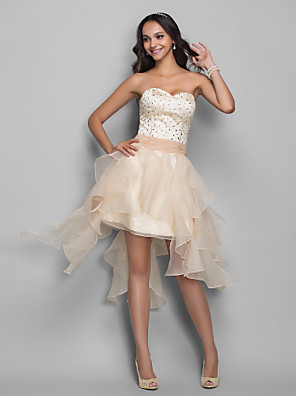 cheap Prom Dresses-A-Line Sexy White Homecoming Cocktail Party Dress Sweetheart Neckline Sleeveless Asymmetrical Organza Stretch Satin with Crystals Beading Tier 2020