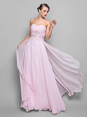 cheap Evening Dresses-A-Line Empire Pink Wedding Guest Formal Evening Dress Sweetheart Neckline Sleeveless Floor Length Georgette with Beading Sequin Overskirt 2020