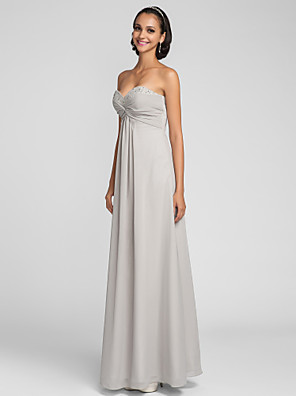 cheap Bridesmaid Dresses-Sheath / Column Sweetheart Neckline Floor Length Chiffon Bridesmaid Dress with Criss Cross / Ruched / Beading / Open Back