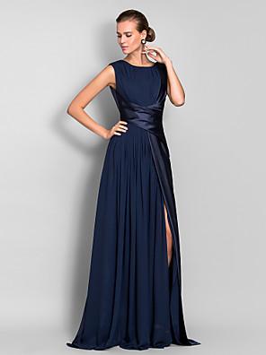 cheap Evening Dresses-Sheath / Column Elegant Open Back Furcal Formal Evening Black Tie Gala Dress Jewel Neck Sleeveless Sweep / Brush Train Chiffon Stretch Satin with Ruched Split Front 2020