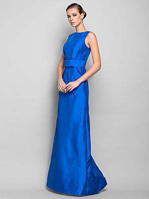 cheap Prom Dresses-Sheath / Column Minimalist Blue Wedding Guest Formal Evening Dress Boat Neck Sleeveless Floor Length Taffeta with Bow(s) 2020